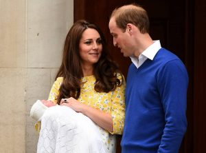 Catherine, Duchess of Cambridge and Prince William, Duke of Cambridge leave The Lindo Wing of St Mary's Hospital with their newborn daughter on May 2, 2015 in London, England.